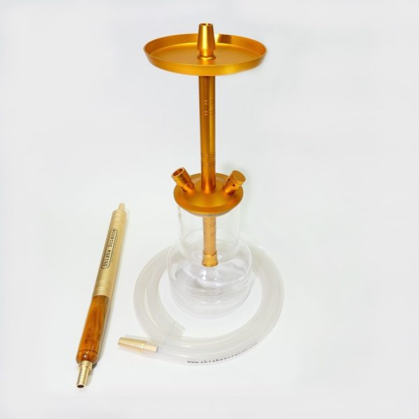 Modern shisha pipe. Copper color aluminium body and ice mouthpiece for cooling the smoke