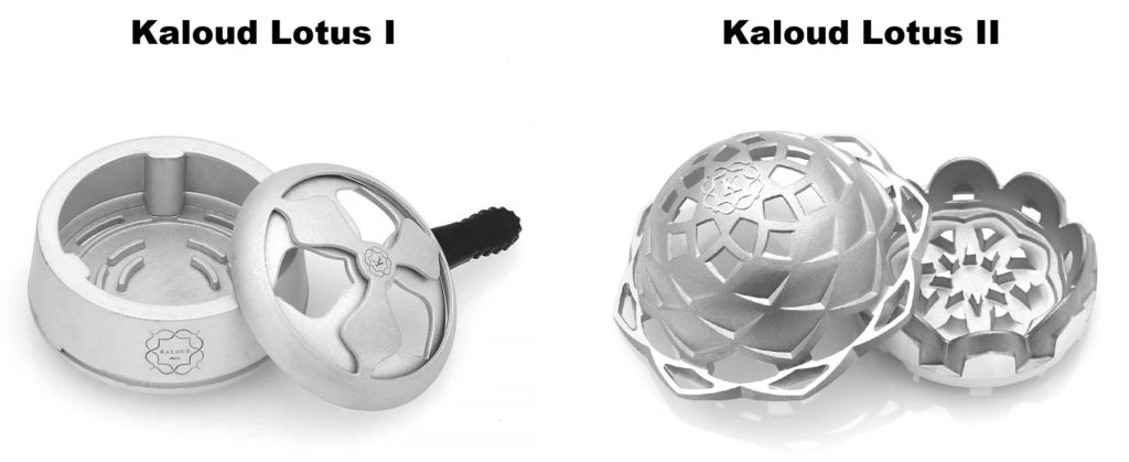 Image of Kaloud Lotus I and Kaloud Lotus II. One of the best hookah heat management devices