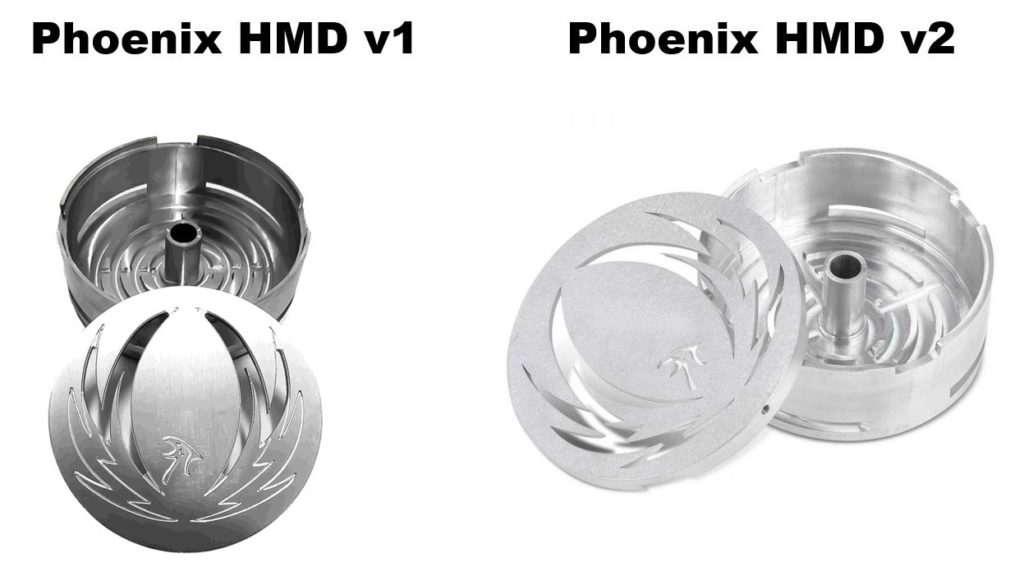 Image of Phoenix HMD version 1 and version 2. Review hookah management devices Phoenix HMD
